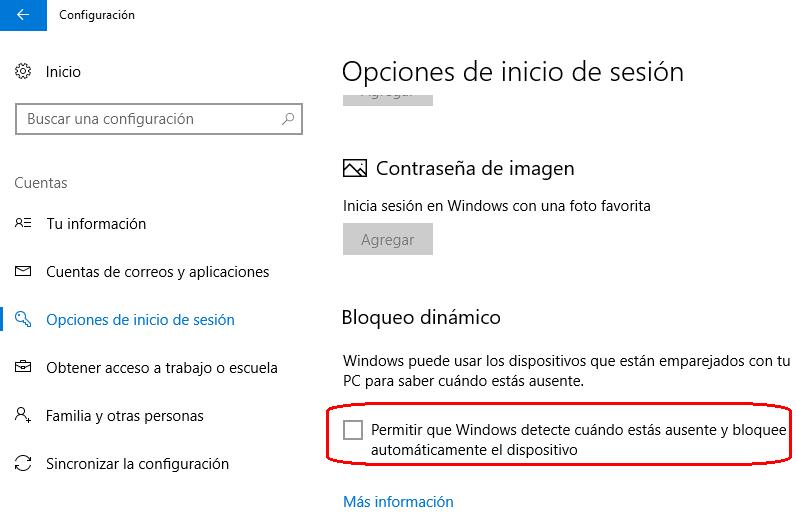bloqueo dinámico en Windows 10 Creators Update