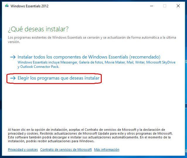 instalar windows essentials 2012