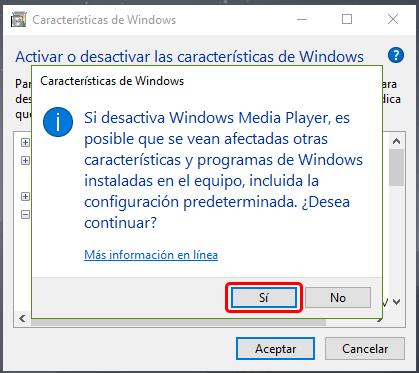 Cómo desinstalar Windows Media Player en Windows 10