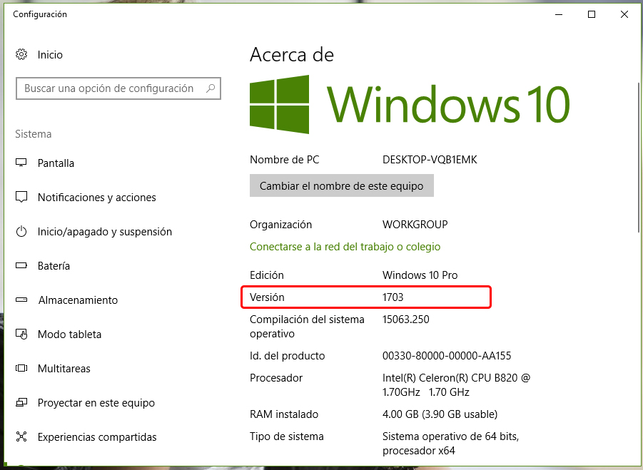 Comprobar si tengo la actualización Windows 10 Creators