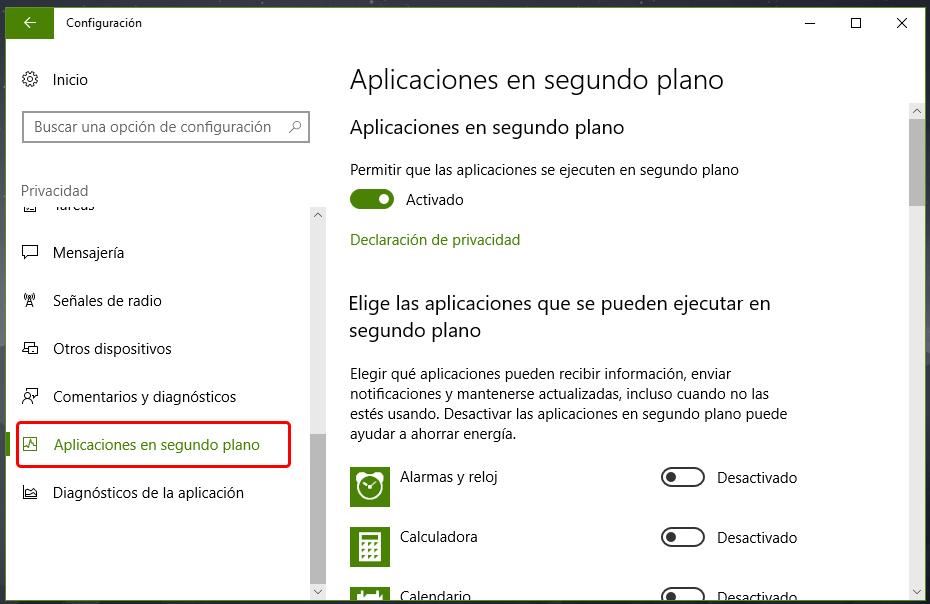Desactivar aplicaciones en segundo plano