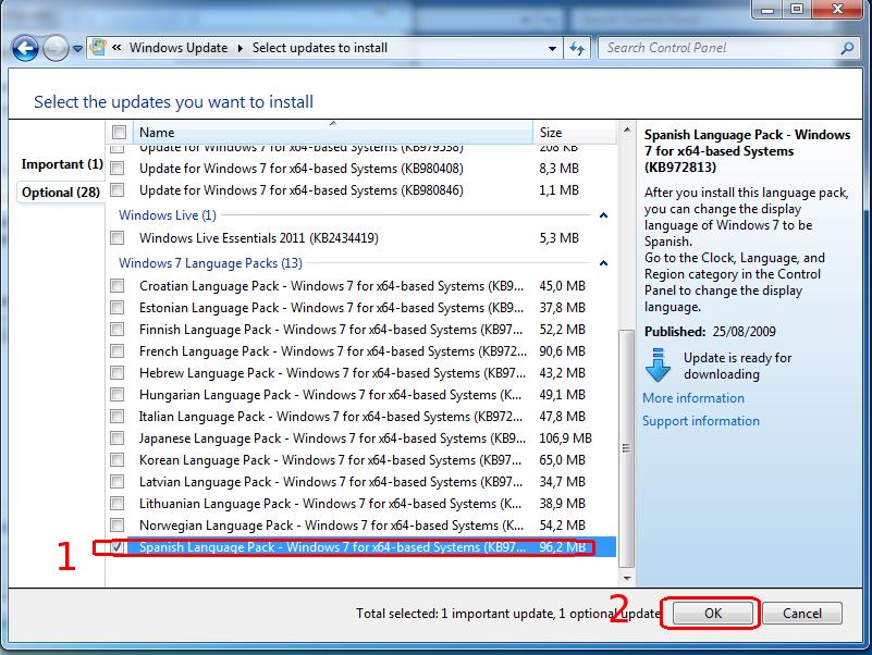 spanish language pack en Windows Update