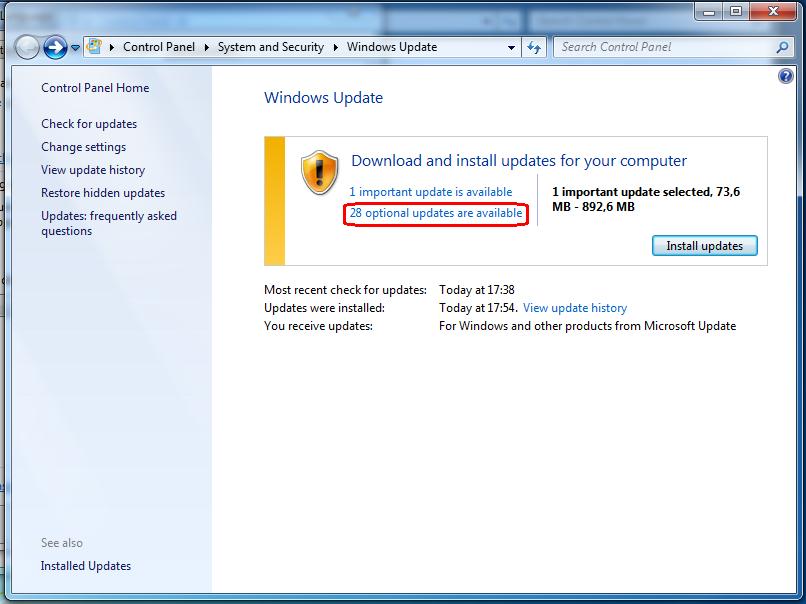 windows update, descargas pendientes