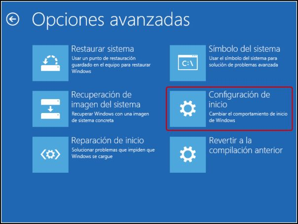 Configuración inicio Windows