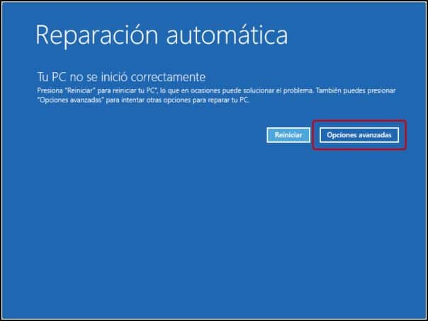 Opciones avanzadas reparación automática Windows 10