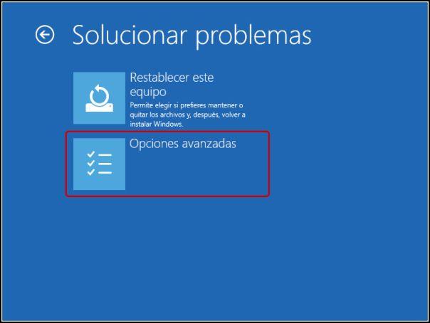 Opciones avanzadas en Windows 10