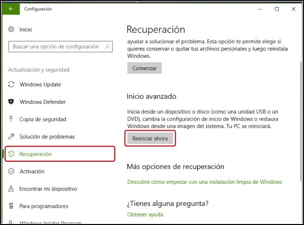 reiniciar Windows