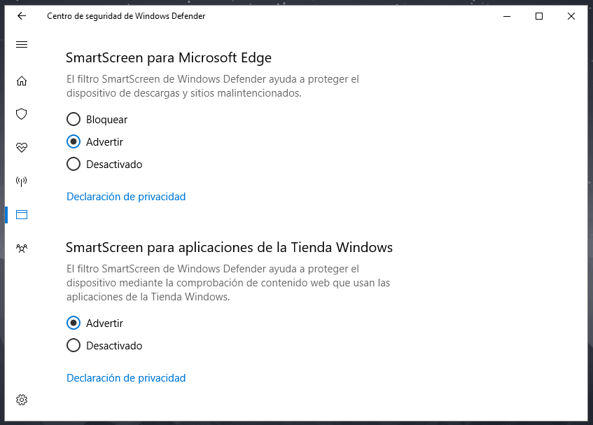 Cómo desactivar Windows SmartScreen en Windows 10