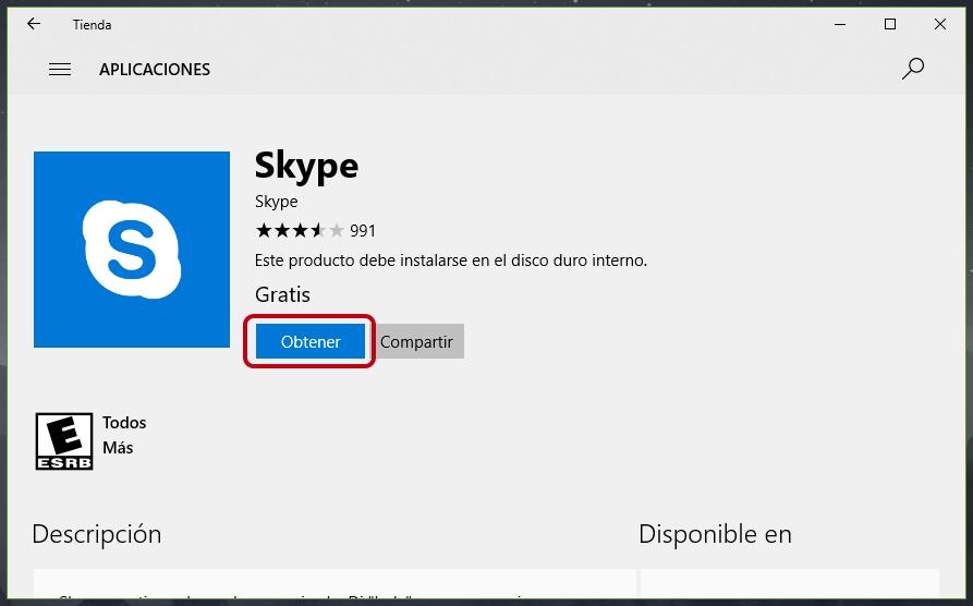 Instalar la aplicación de Skype en Windows 10
