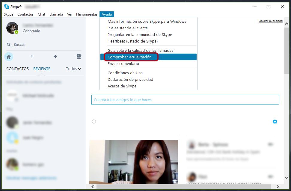 Comprobar actualización de Skype