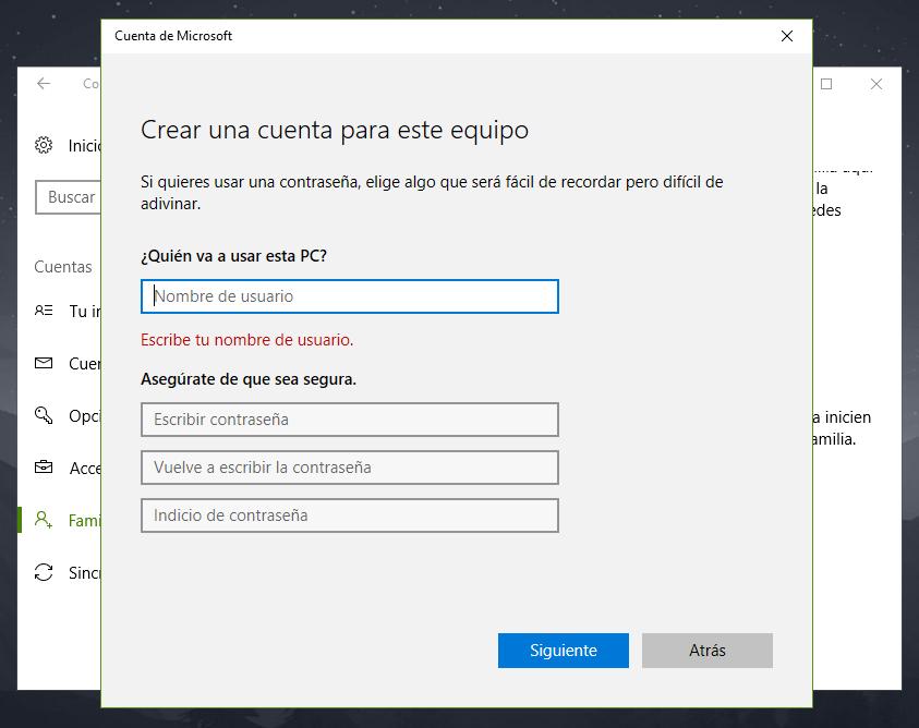 Cómo crear usuario local en Windows 10 sin usar cuenta de Microsoft