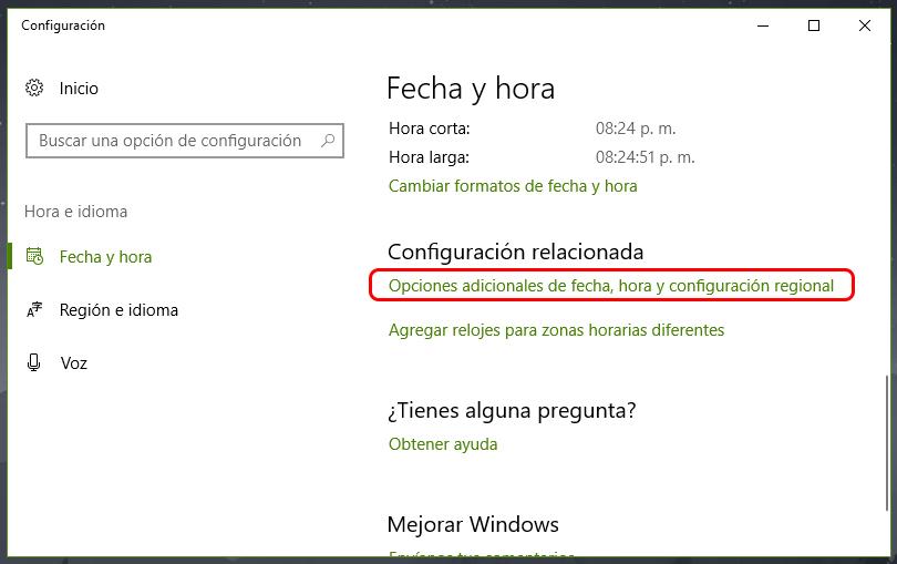Fecha y hora incorrectas en Windows 10: Solución 1