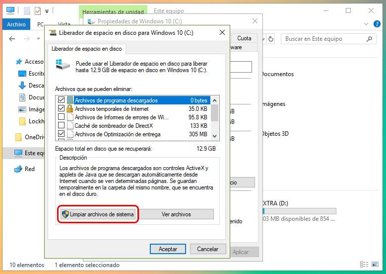 Cómo liberar espacio tras actualizar Windows 10 3