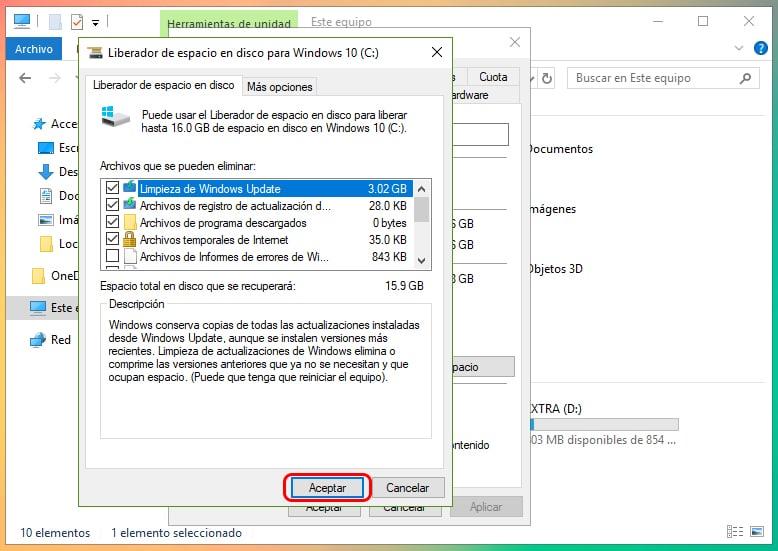 Cómo liberar espacio tras actualizar Windows 10 4