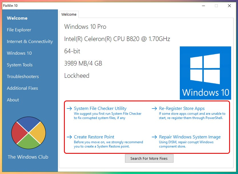 Cómo usar FixWin 10 para reparar Windows 10