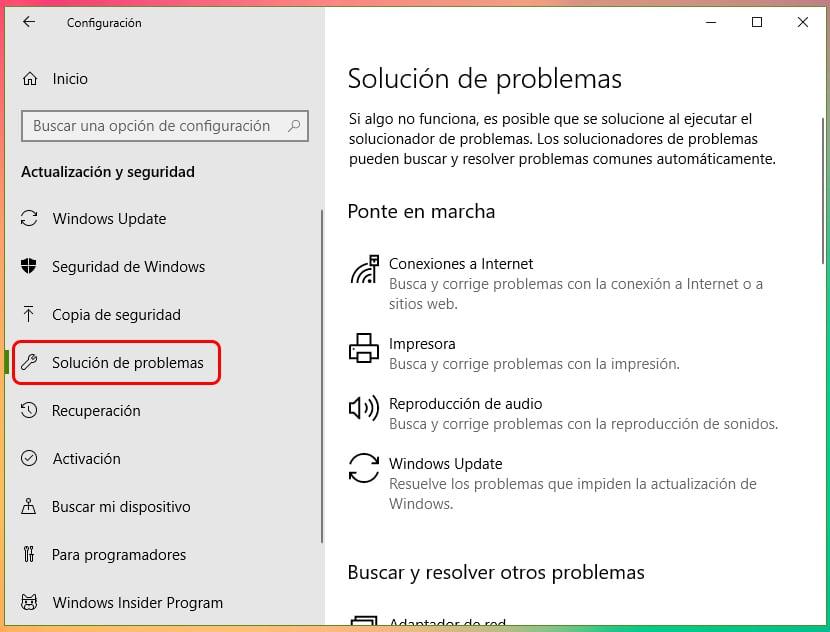 Usar el solucionador de problemas de Windows