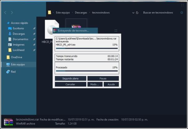 progreso ventana WinRAR