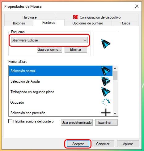 Cómo cambiar el puntero del mouse en Windows 10 4