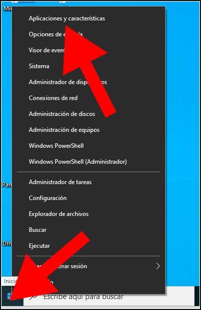 Aplicaciones y características, inicio de Windows