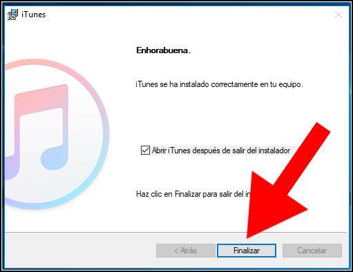instalación iTunes finalizada