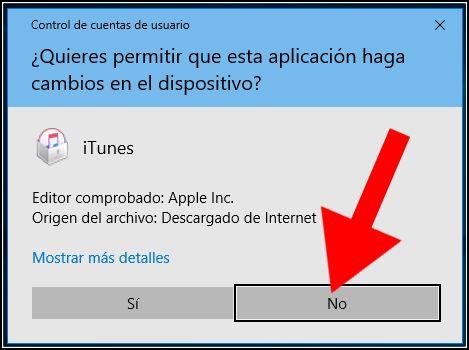 permitir cambios en iTunes Windows