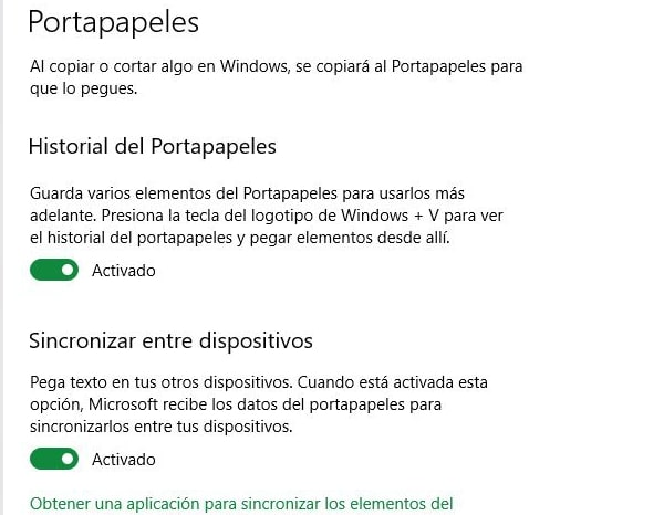 portapapeles en la nube para Windows 10