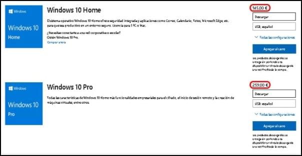 precio licencia Windows 10 Pro