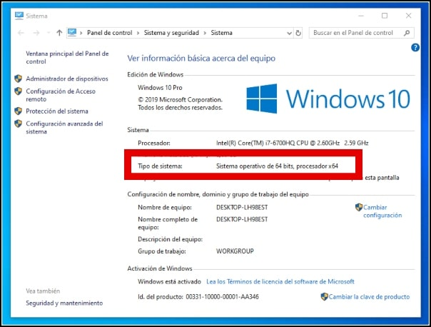 tipo de sistema Windows