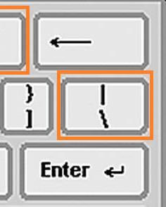 slash invertida en teclado