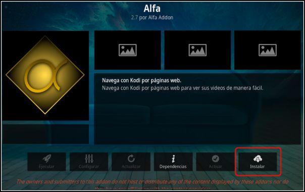 instalar addon Alfa