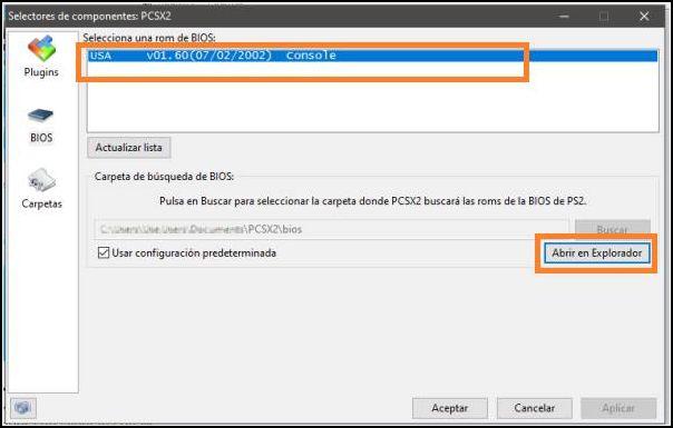seleccionar bios PCSX2