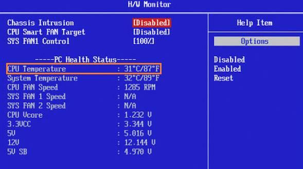 ver temperatura CPU desde bios