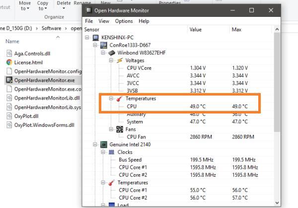 temperatur de cpu en Open Hardware Monitor