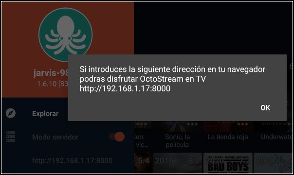 modo servidor OctoStream