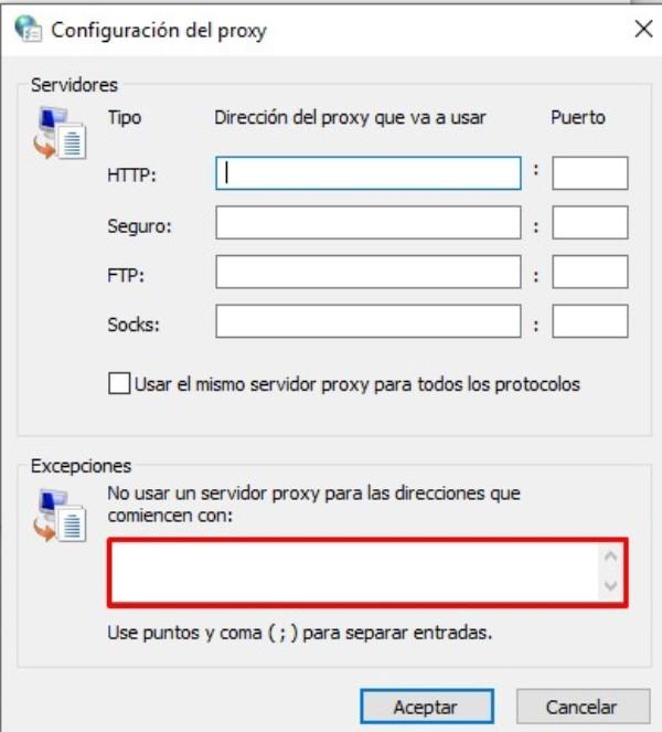 Configuracion del proxy_
