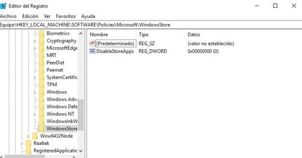 Desactivar wsappx con Regedit
