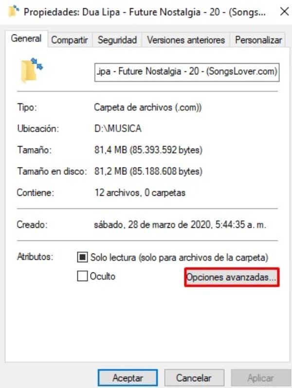 Eliminar flechas azules de una carpeta o archivo específico en Windows 10_