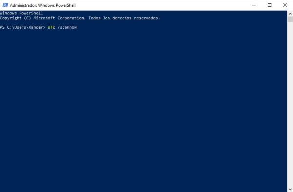 comando para iniciar la comprobacion de archivos del sistema