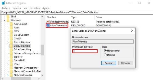 desactivar telemetria de windows