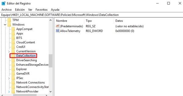 editor de registro de windows_datacollection.