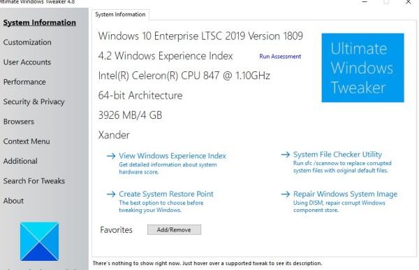 ultimate windows tweaker_system information