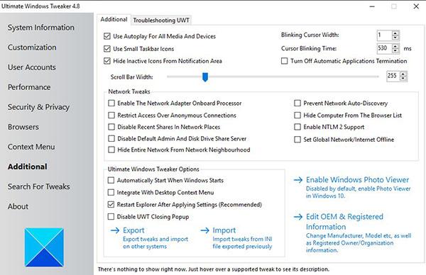 ultimate windows tweaker_additional