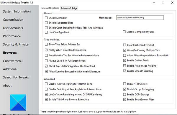 ultimate windows tweaker_browsers