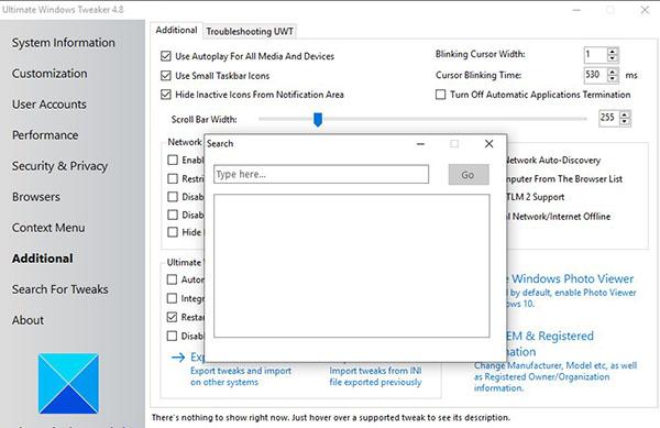ultimate windows tweaker_search for tweaks